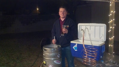 Jamie Setting Up a Brew