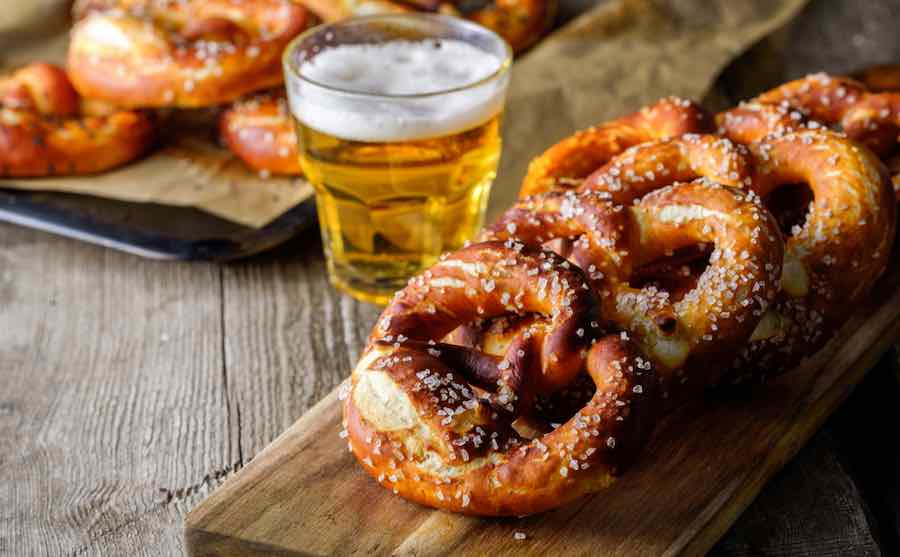 American Lager and Pretzels